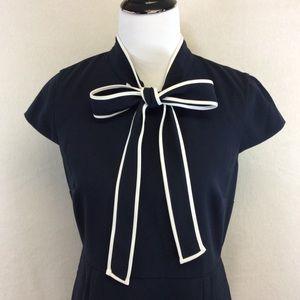 J. Crew Dresses - J. Crew J2557 tie neck dress 365 crepe navy